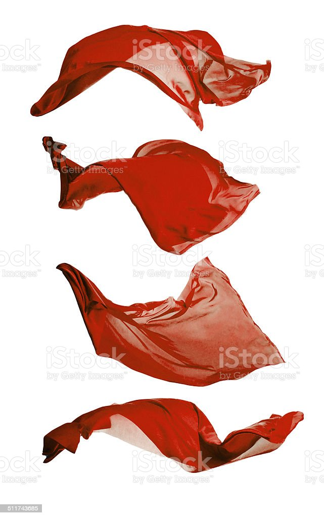 Abstract red silks on white background stock photo