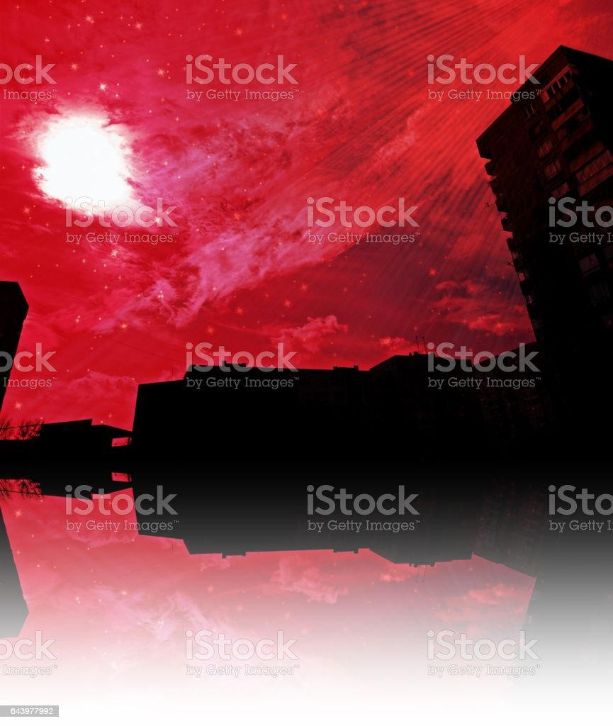 734- Abstract red sky over cityscape stock photo