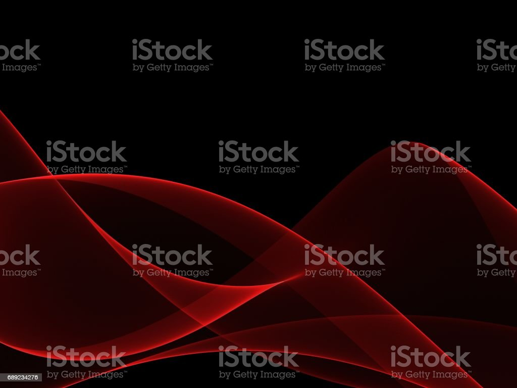 Abstract red wave and black background stock photo