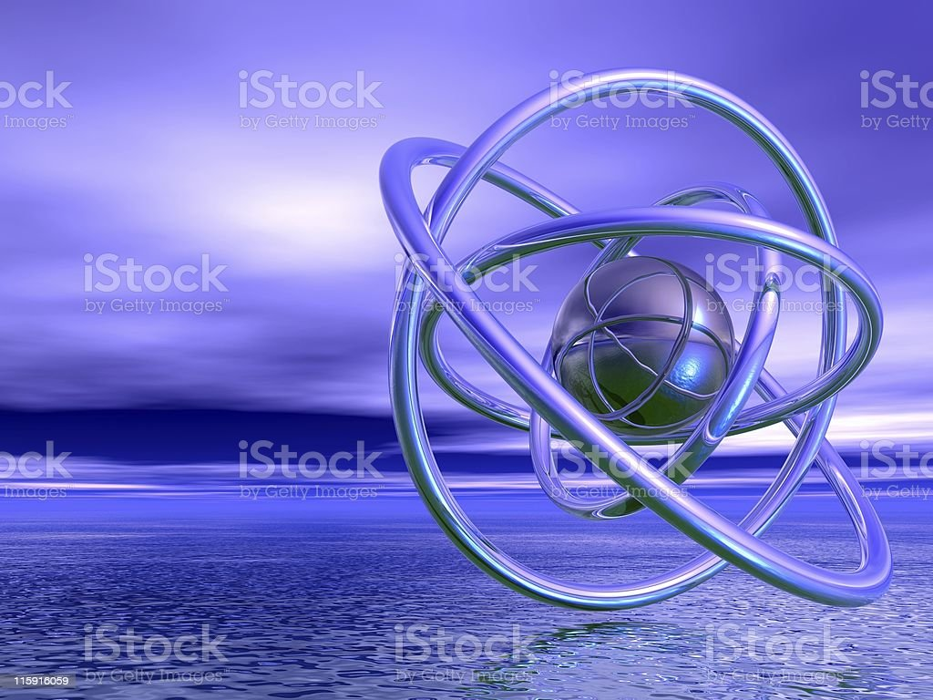 Abstract representation of 3D atomic shape over a seascape royalty-free stock photo