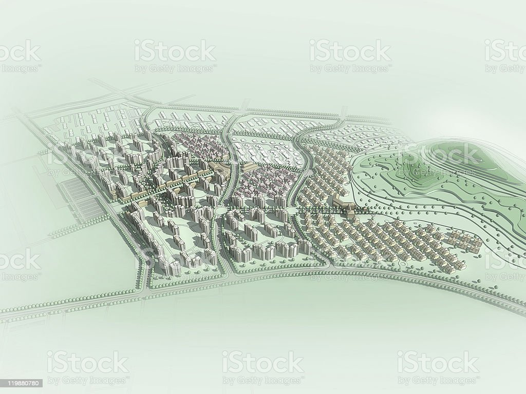 Abstract representation of a planned community stock photo
