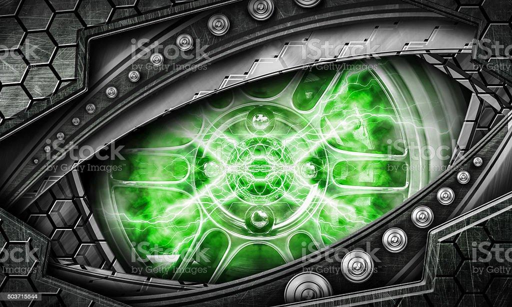 abstract robot eye background stock photo