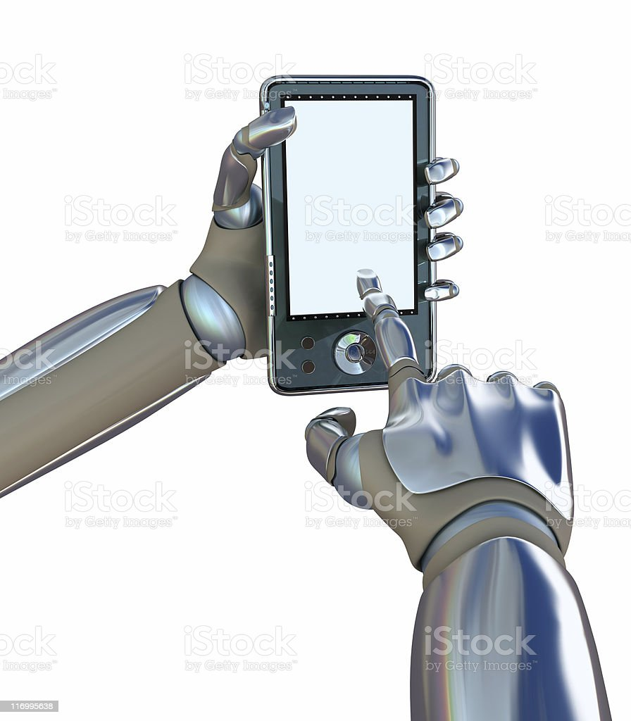 Abstract robot hands is working with PDA computer royalty-free stock photo