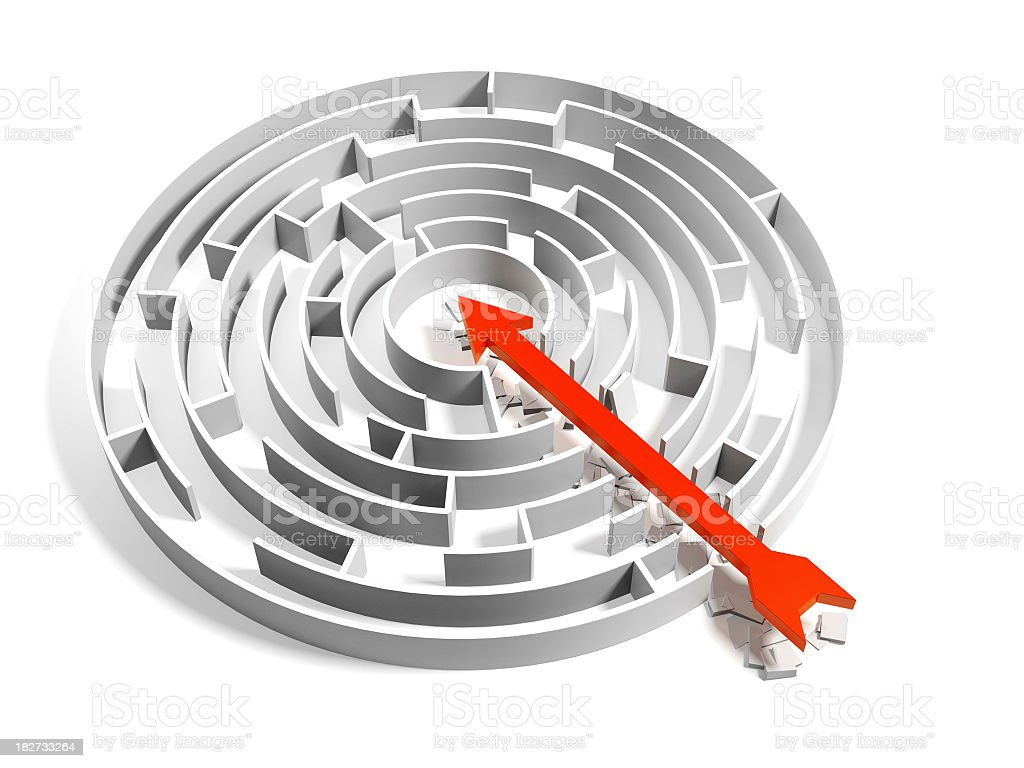 Abstract Round Maze with brute force solution royalty-free stock photo