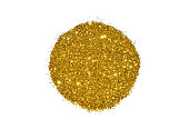 Abstract round of golden glitter sparkle on white background