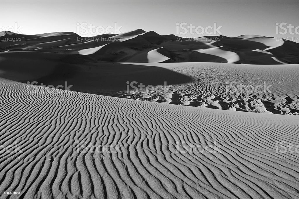 Abstract Sandscape-lightwaves b&w stock photo