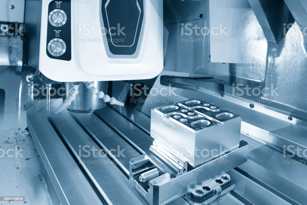Abstract scene of face milling tool with the raw material stock photo