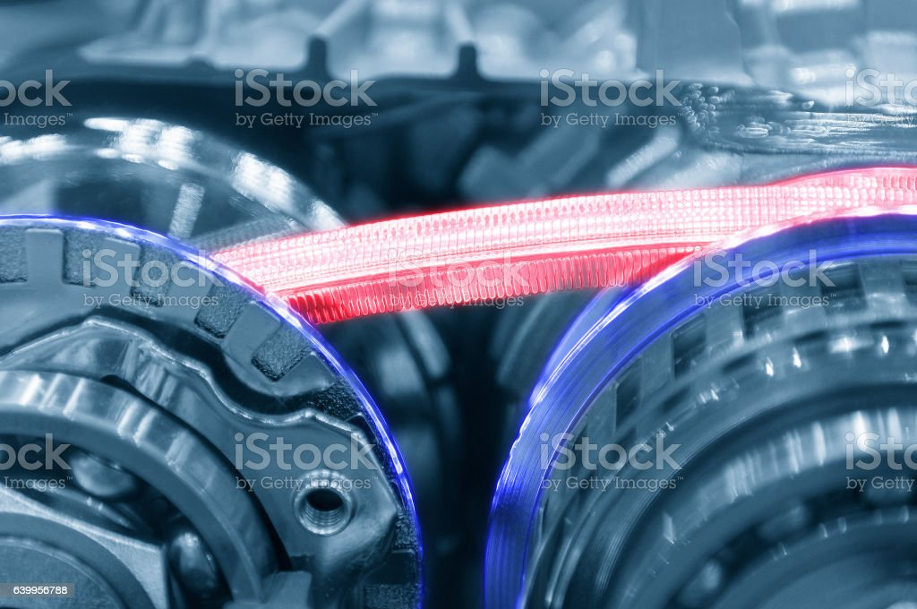 Abstract scene of  steel belt of the automatic transmission gear stock photo