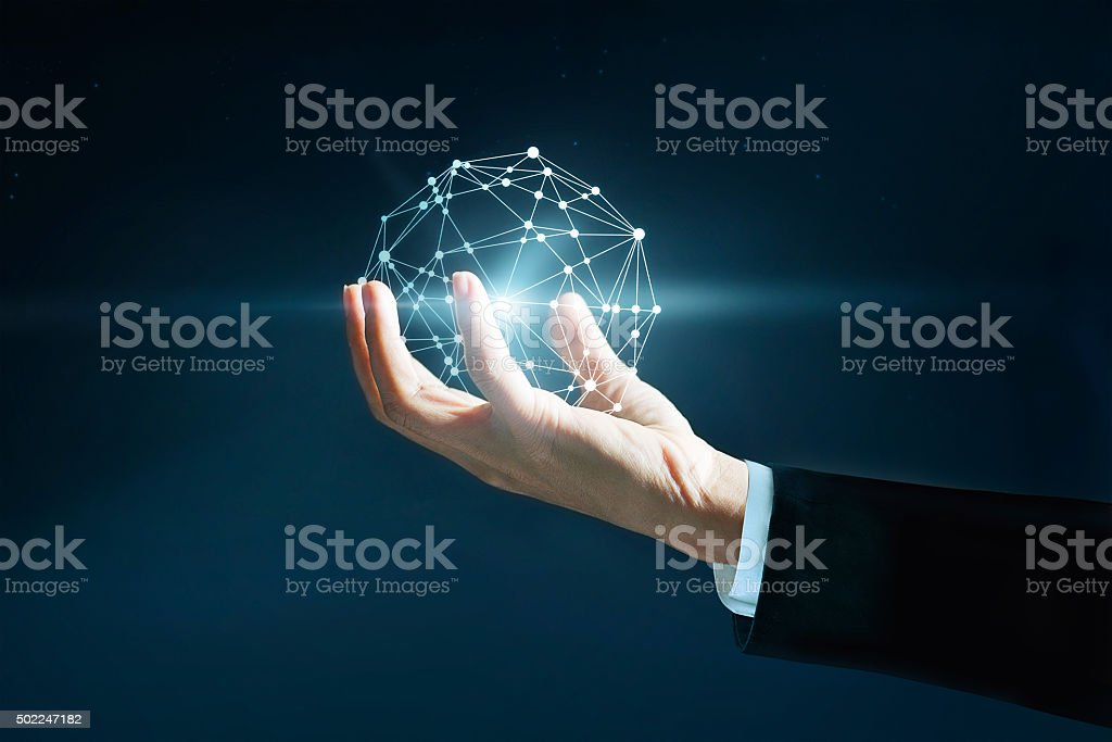 Abstract science, circle global network connection in hand businessman stock photo