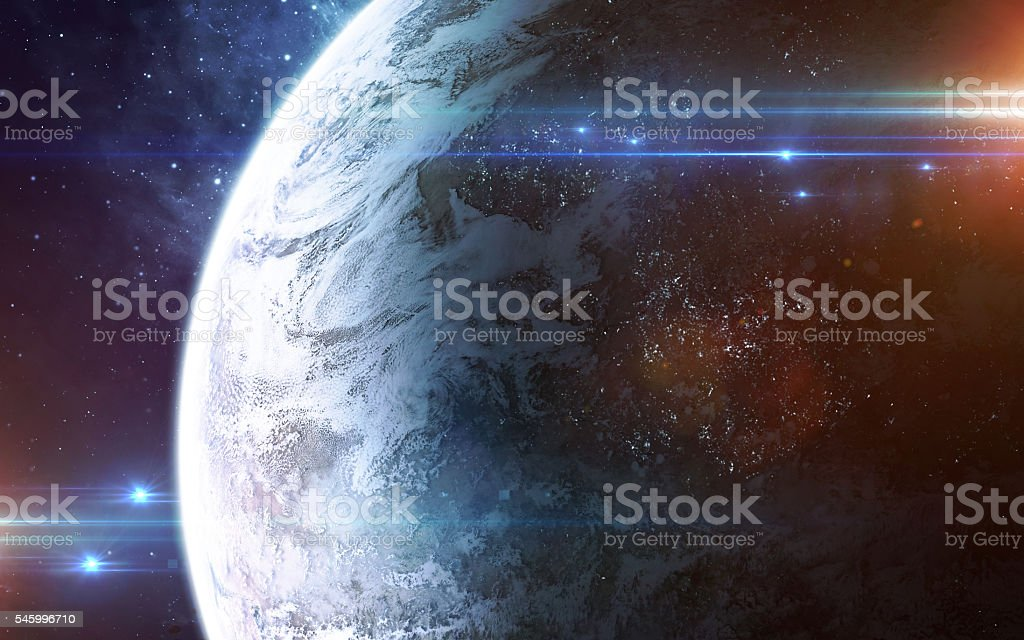 Abstract scientific background - glowing planet in space, nebula and stock photo