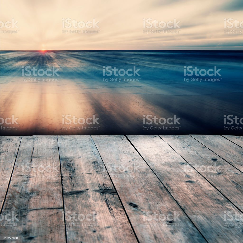 Abstract Sea and Sky Background With Wooden Floor stock photo