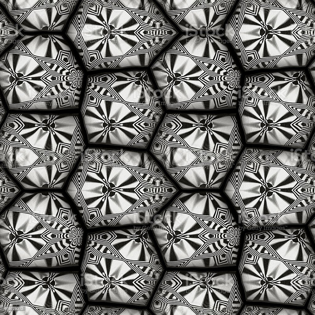 Abstract seamless black and white pattern of stones stock photo
