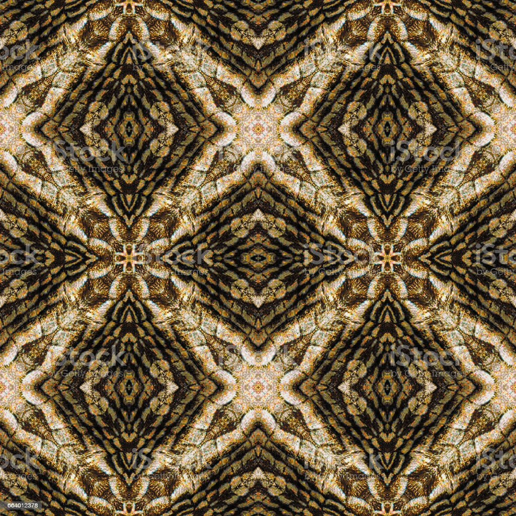 Abstract seamless reptile pattern with brown, black and white scalloped reptile skin stock photo