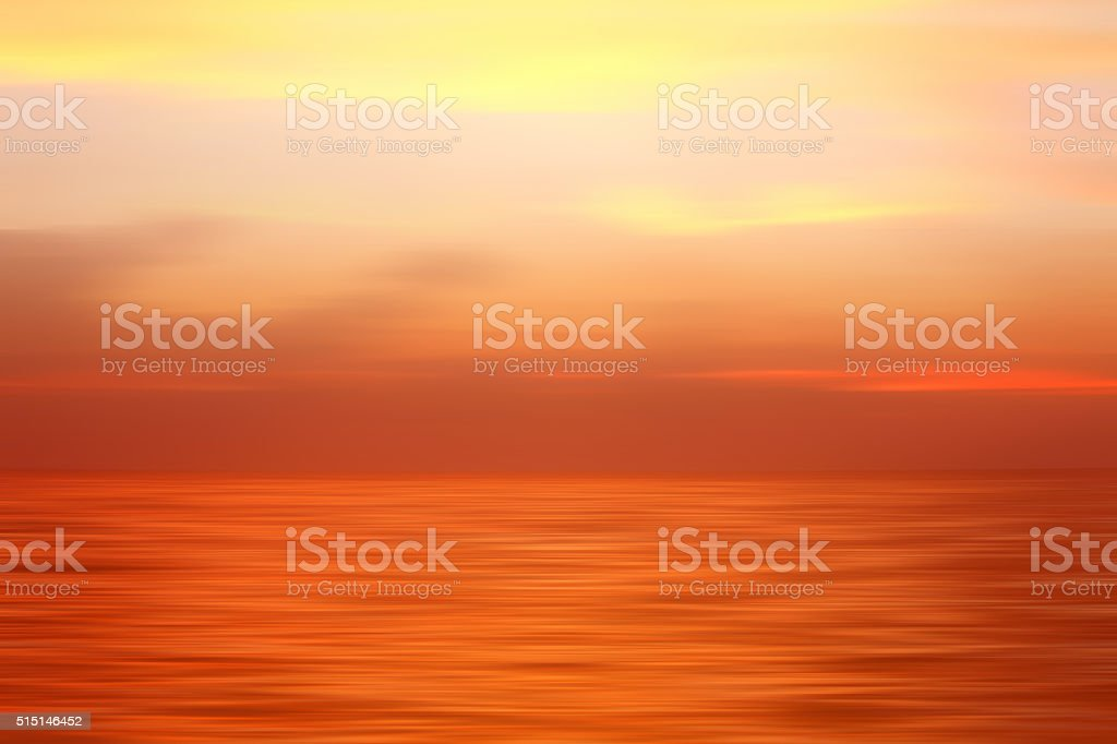 Abstract seascape: dreamlike sunset over sea, zen-like emotions stock photo
