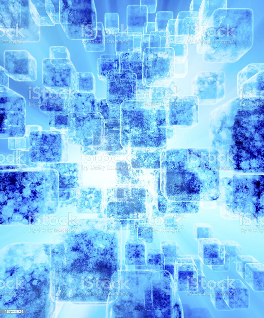 Abstract semi transparent decaying cubes background royalty-free stock photo