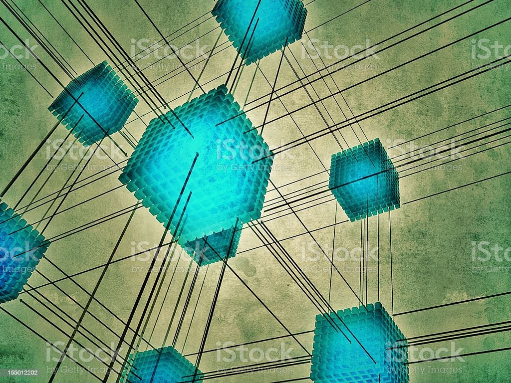 Abstract series of cubes forming a network stock photo