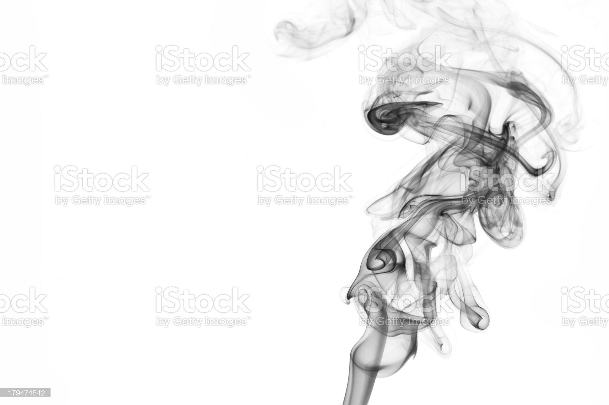 Abstract shape of black smoke on white background royalty-free stock photo