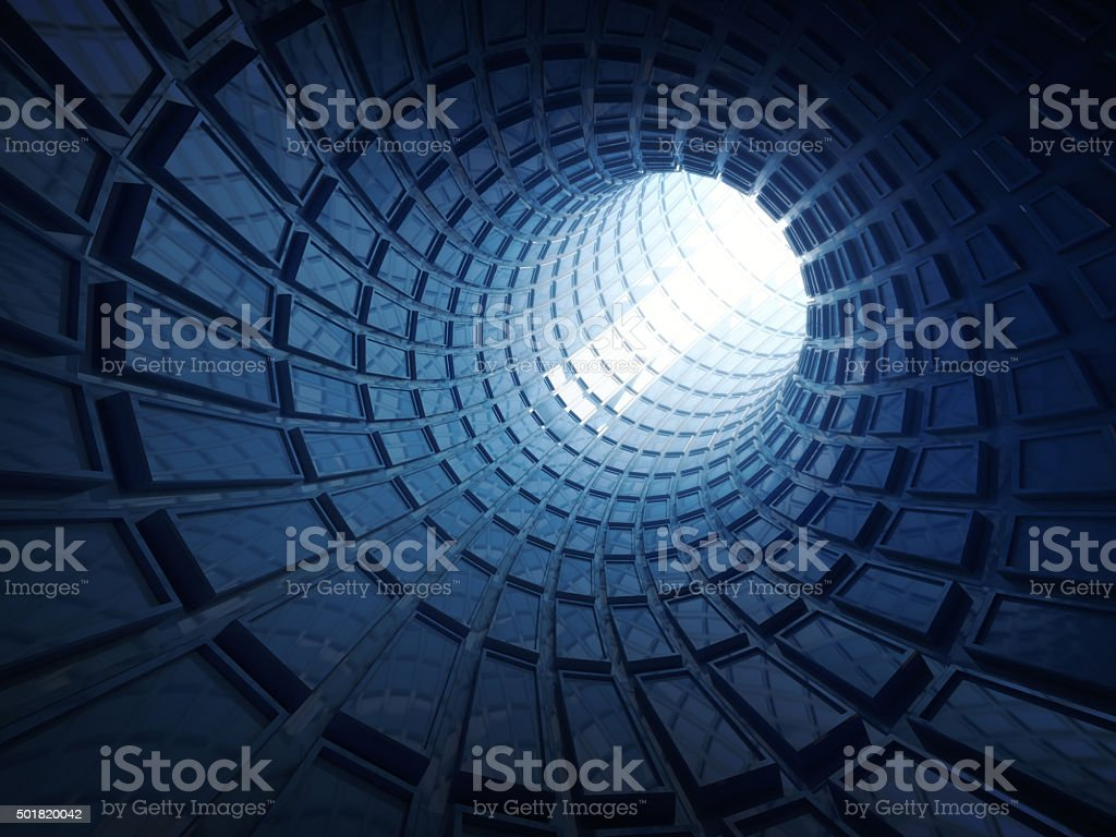 Abstract shining blue digital tunnel background stock photo