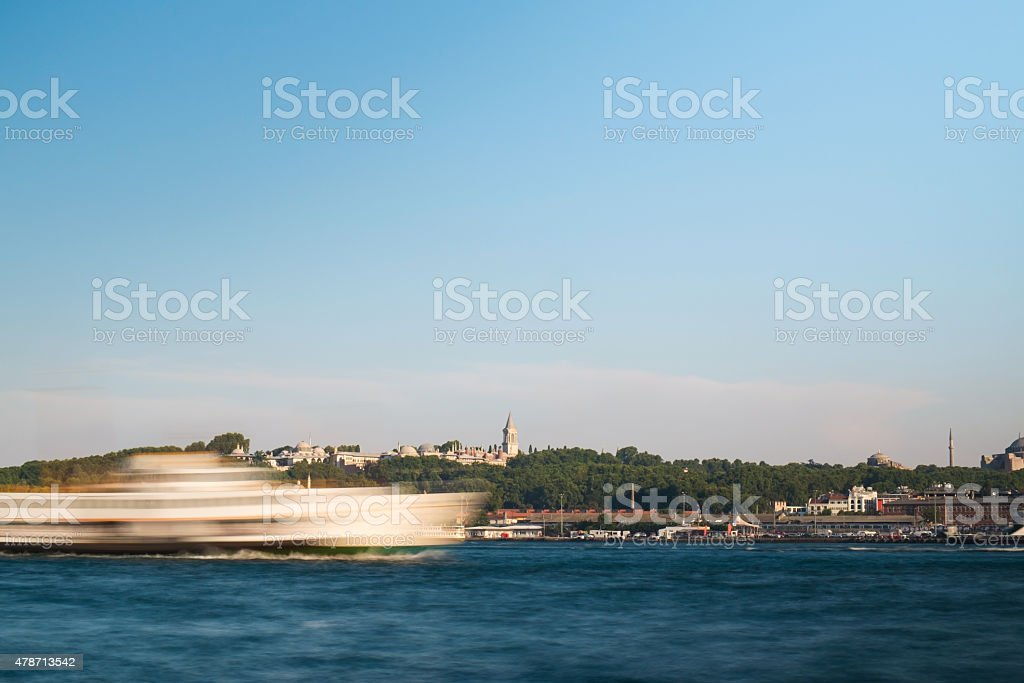 Abstract Ships and The Topkapi Palace stock photo