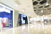Abstract shopping plaza mall interior, modern market, blur background