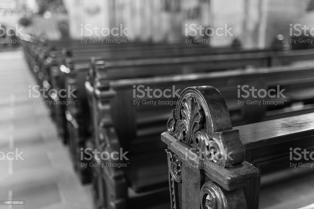 abstract shot of banks in a church stock photo