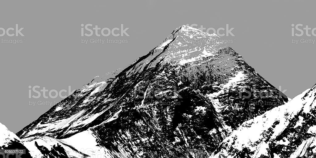 Abstract silhouette of Mount Everest from Gokyo valley stock photo