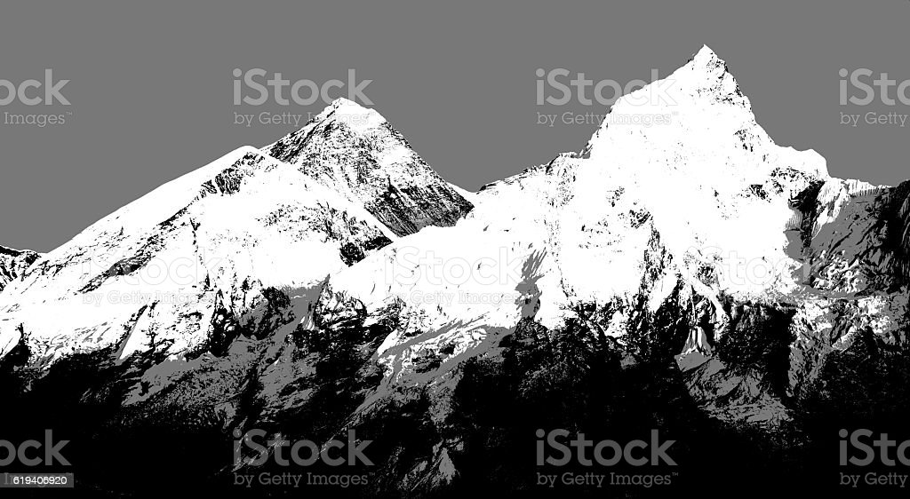 Abstract silhouette of Mount Everest from Kala Patthar stock photo