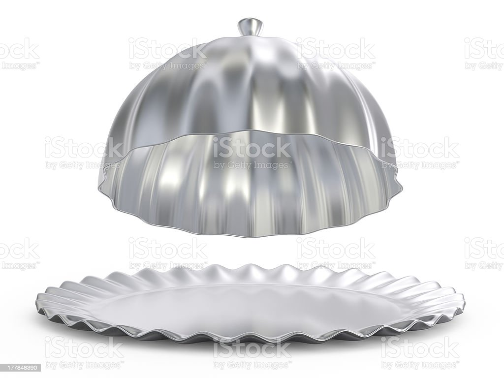 Abstract silver food tray stock photo