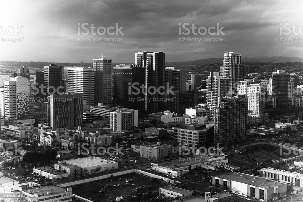 Abstract Skyline of San Diego in Black and White stock photo