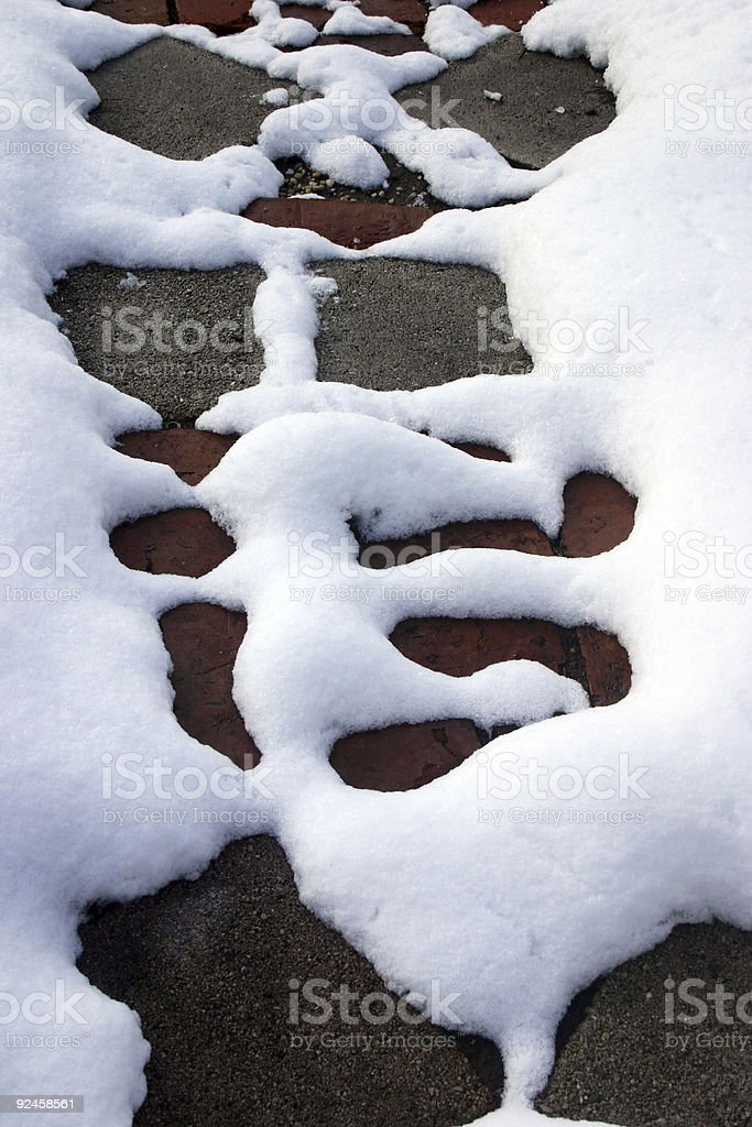 Abstract snow pattern on sidewalk (spring approaching) stock photo