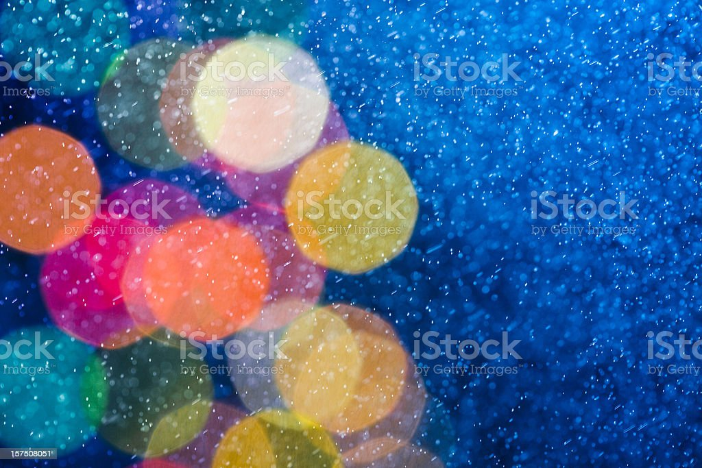 Abstract snow storm and defocused lights royalty-free stock photo