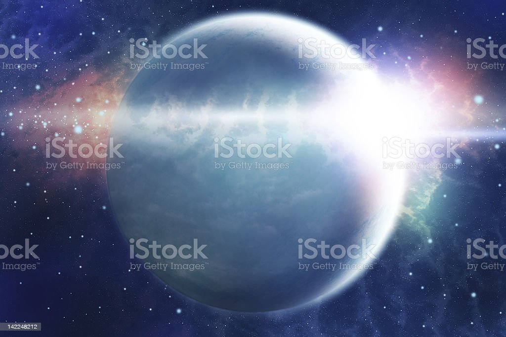 Abstract space landscape with planet and sunrise royalty-free stock vector art