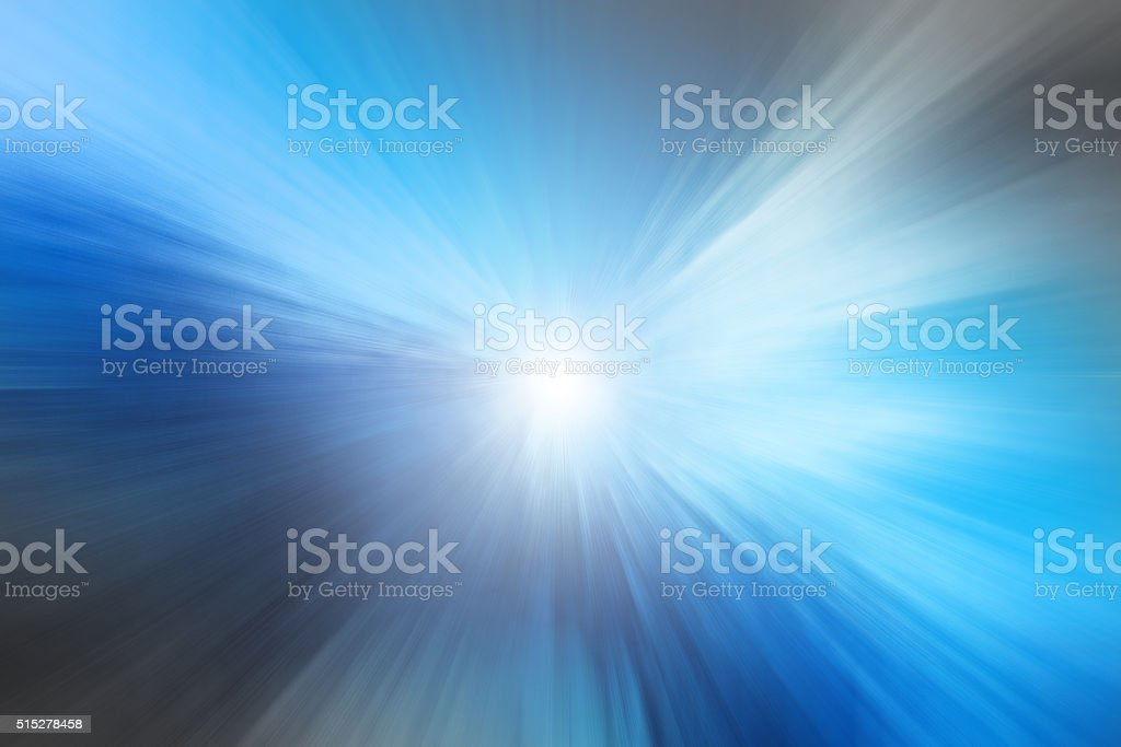 Abstract Speed motion in blue highway tunnel stock photo