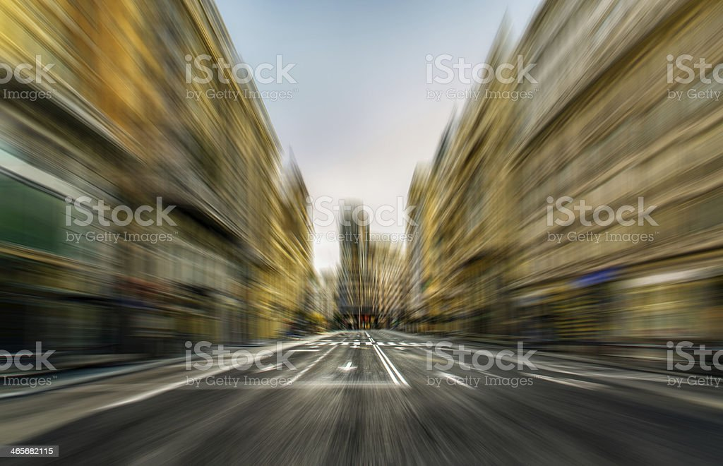 abstract speed motion in city blur madrid spain street fast stock photo
