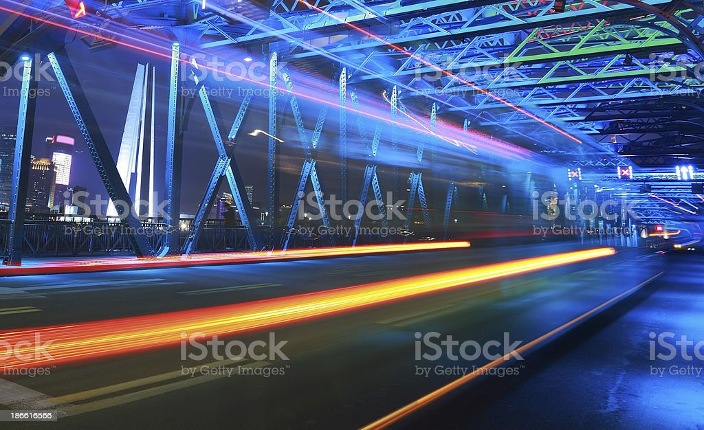 Abstract Speed motion in city highway royalty-free stock photo