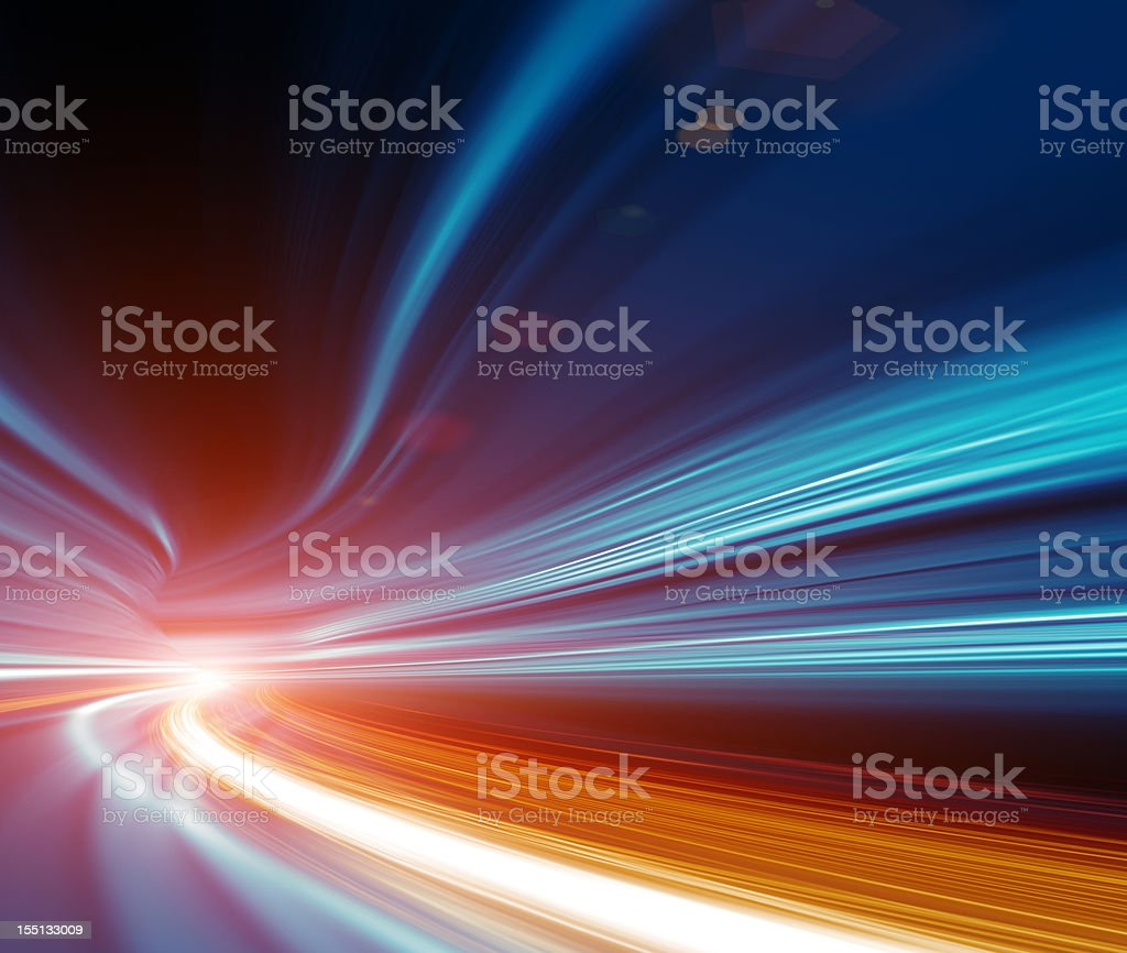 Abstract Speed motion in highway tunnel vector art illustration
