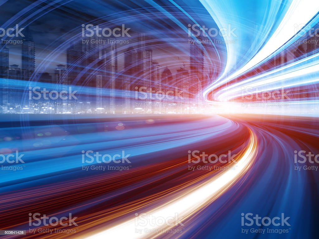 Abstract Speed motion in highway tunnel stock photo