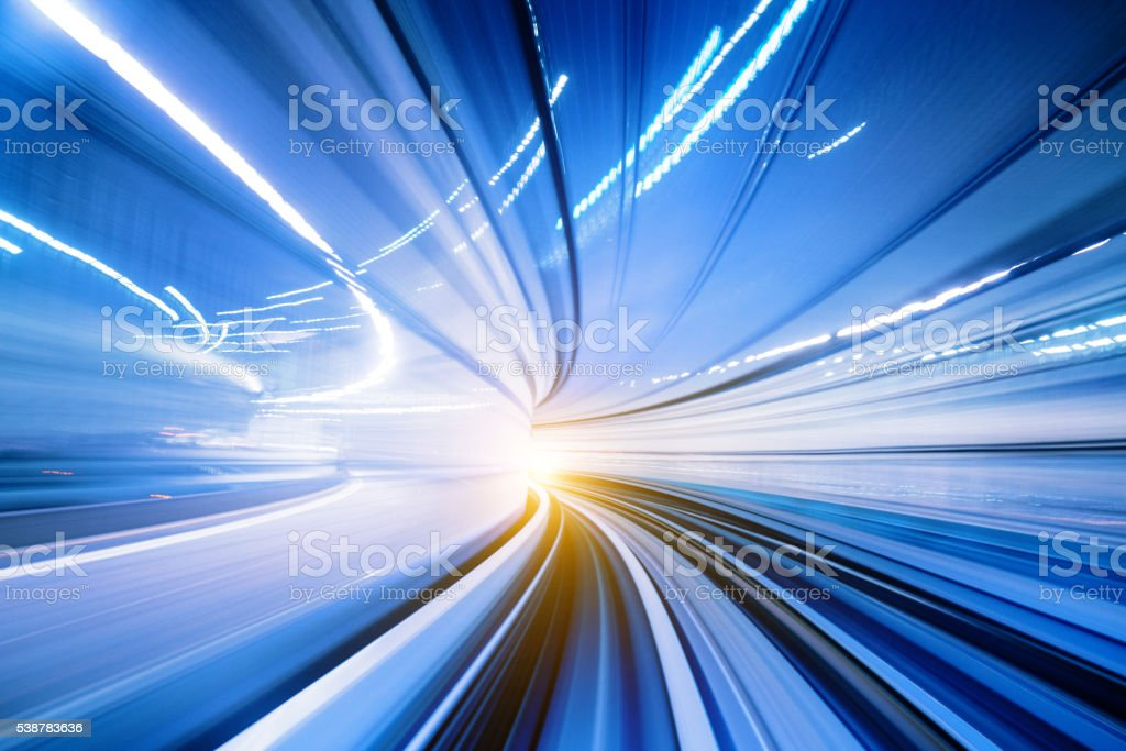 Abstract Speed motion in train tunnel stock photo