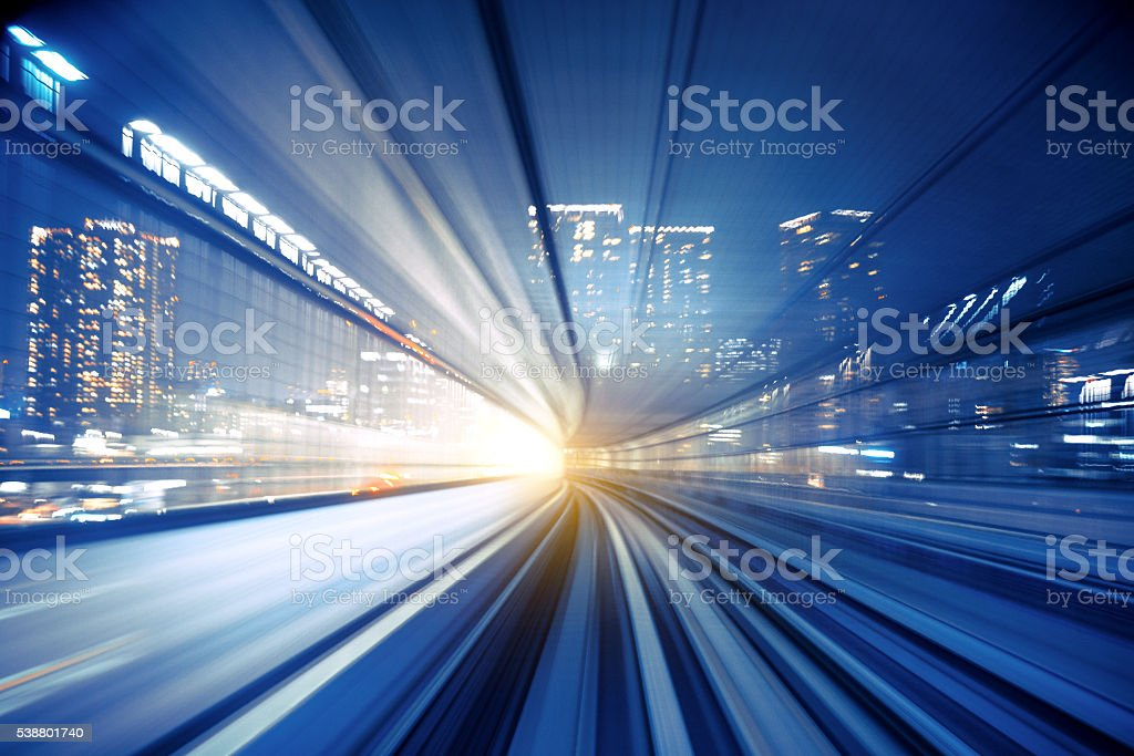 Abstract Speed motion in transparent train tunnel stock photo
