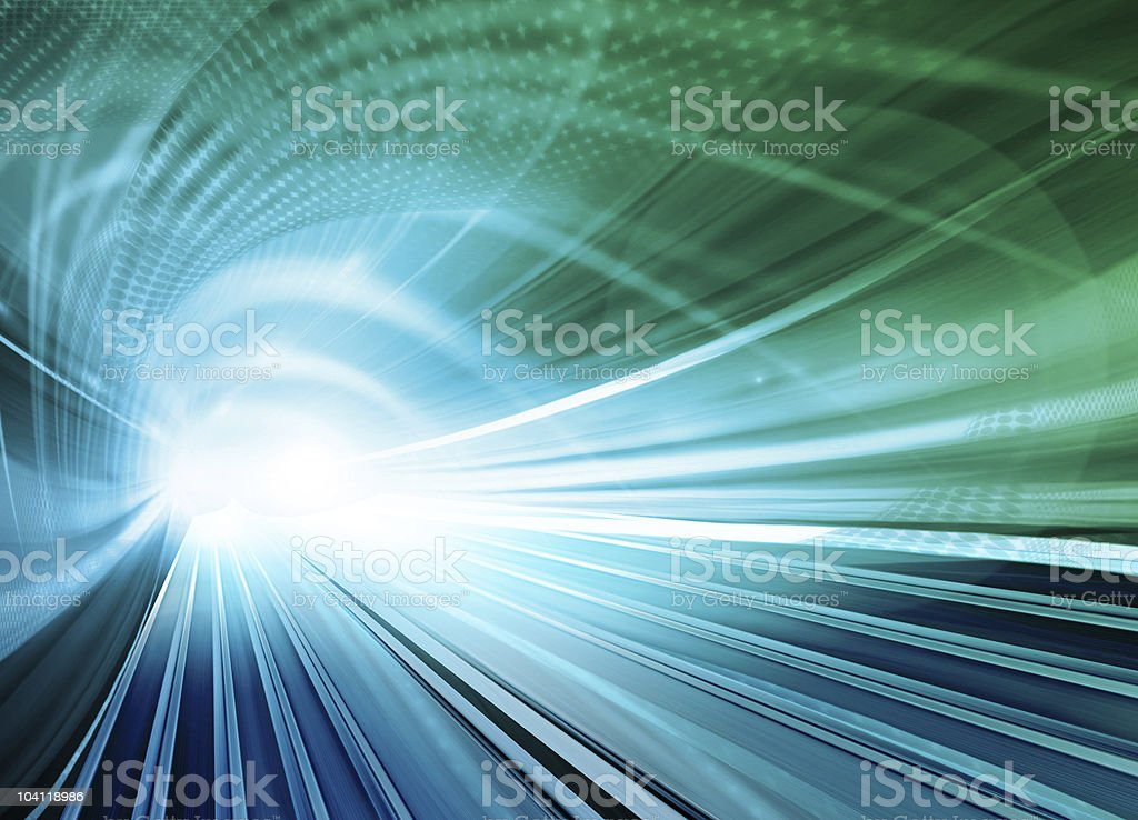 Abstract speed motion of a highway tunnel stock photo