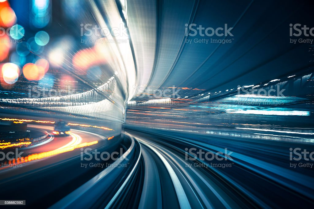 Abstract Speed motion through a tunnel stock photo