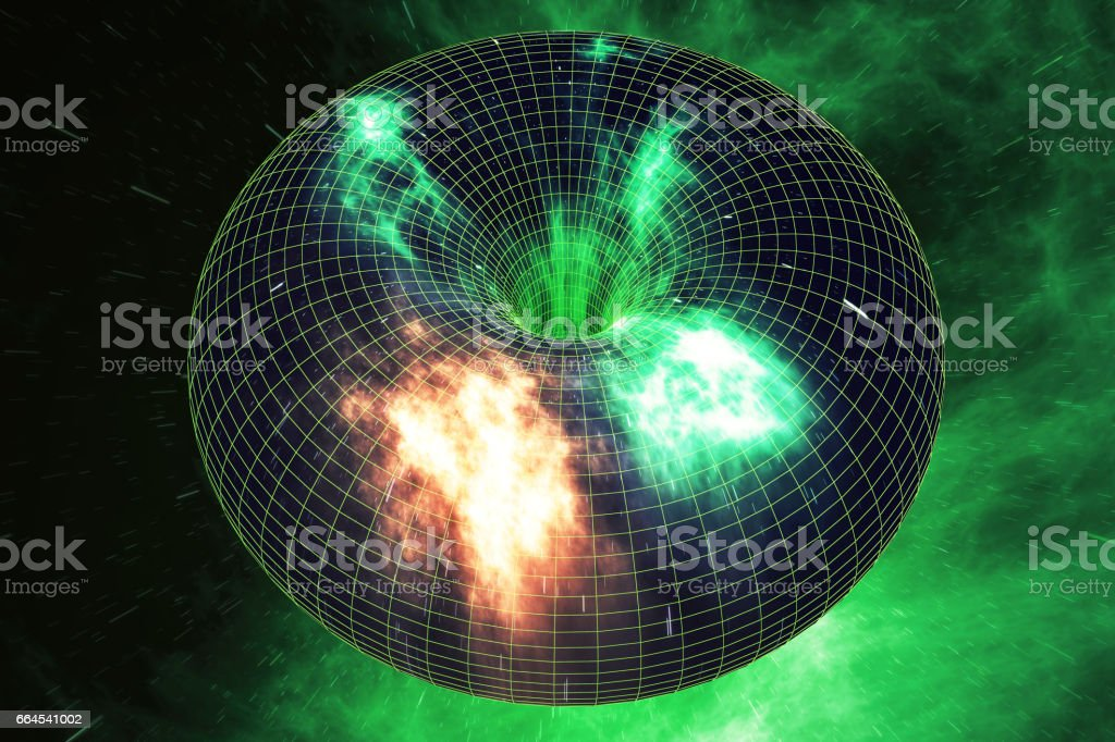 Abstract speed tunnel warp in space, wormhole or black hole, scene of overcoming the temporary space in cosmos. 3d rendering stock photo