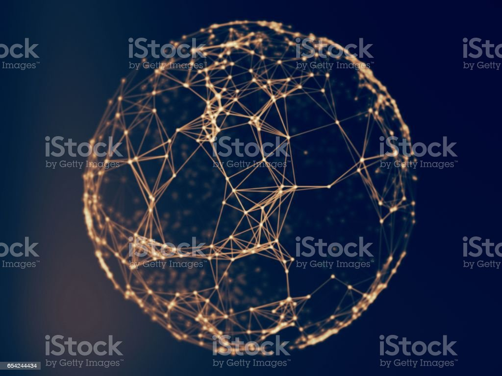 Abstract sphere geometry orb and polygonal lines and dots. Futuristic Technology (super high resolution) stock photo