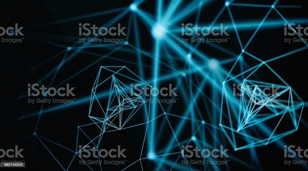Abstract sphere geometry orb and polygonal lines and dots. Futuristic Technology, 3D illustration, 3D rendering stock photo