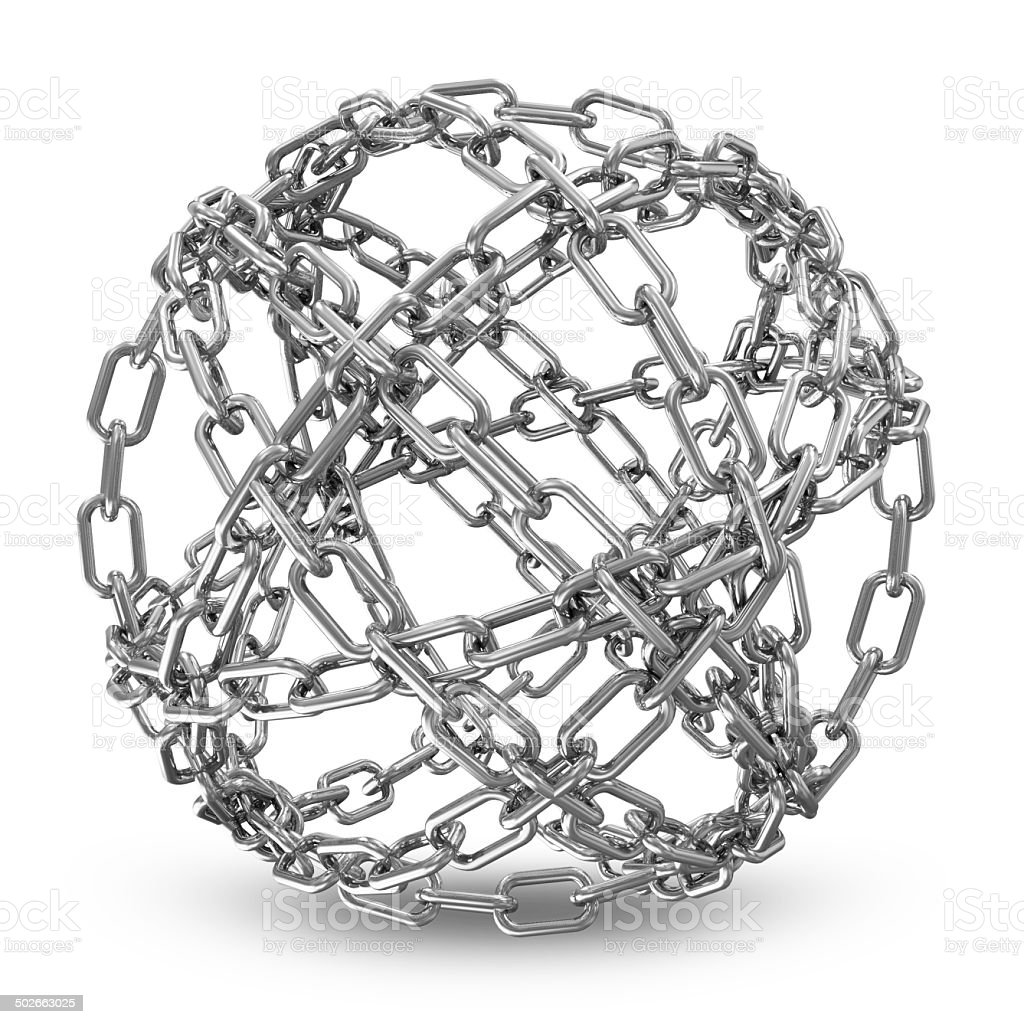 Abstract Sphere Made From Silver Chains on white background stock photo