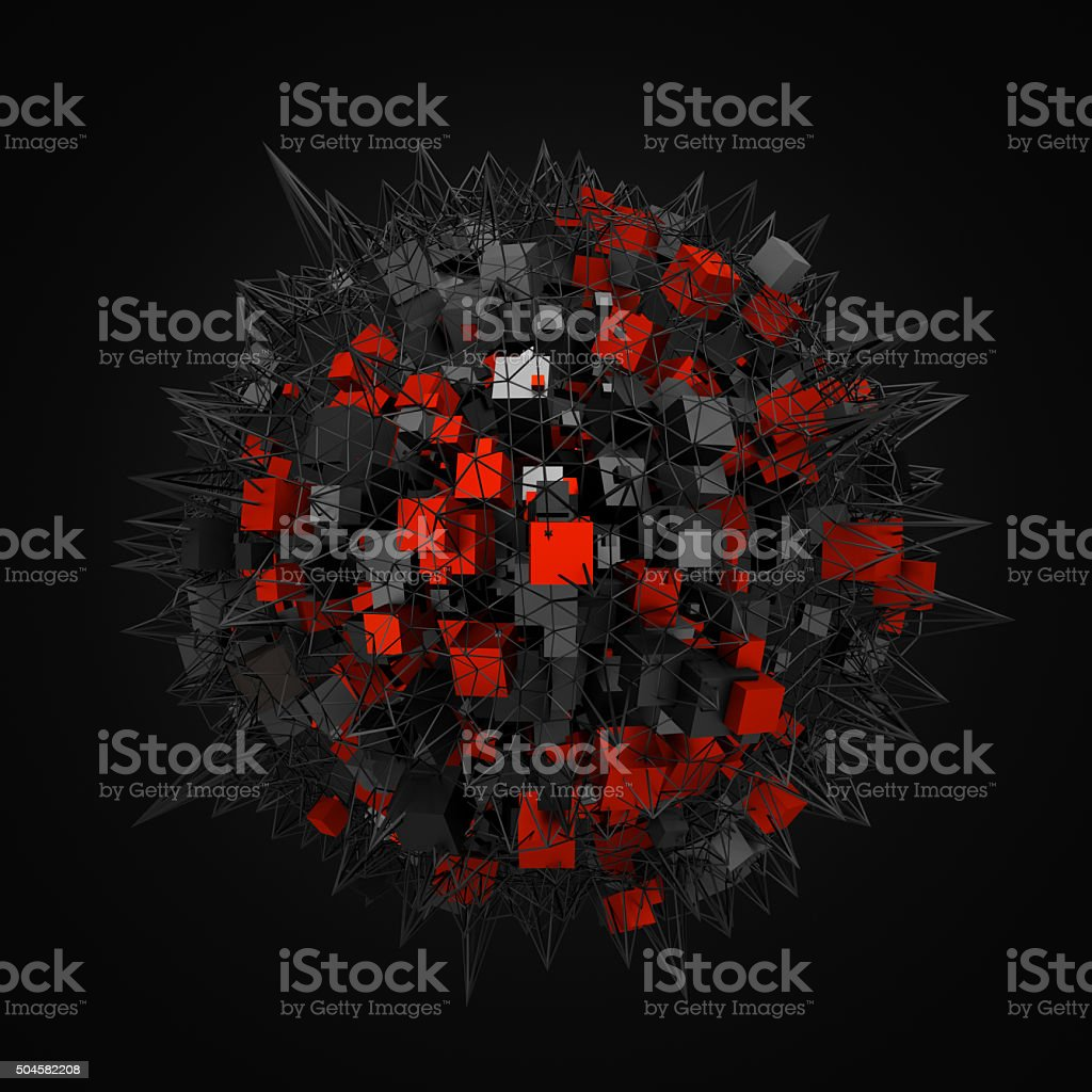 Abstract Sphere with Chaotic Structure stock photo