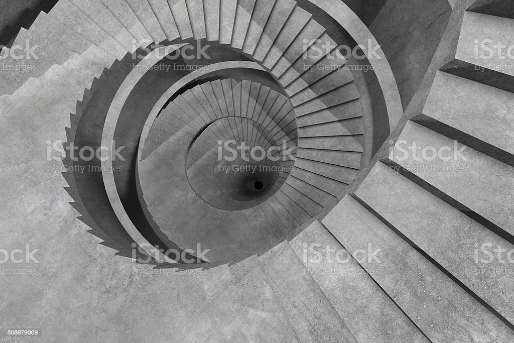 Abstract spiral staircase, empty dark concentric tunnel going down stock photo