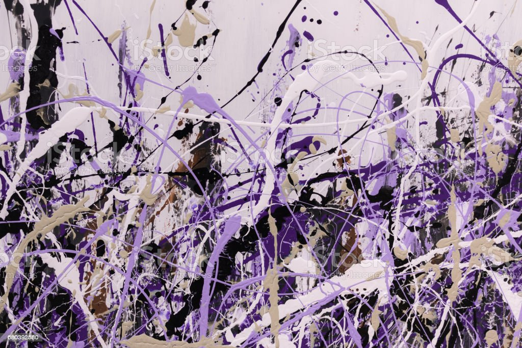 Abstract Splash Painting Art: Strokes with Different Color Patterns like Purple, Violet and Black vector art illustration