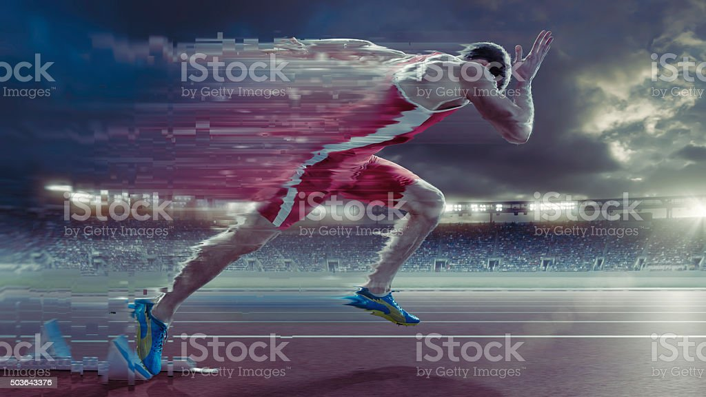 Abstract Sprinter High Speed Start To Race Motion Trail stock photo