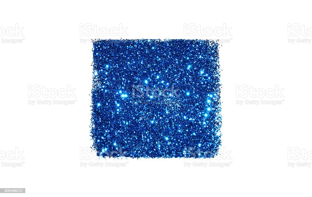 Abstract square of blue glitter sparkle on white background stock photo